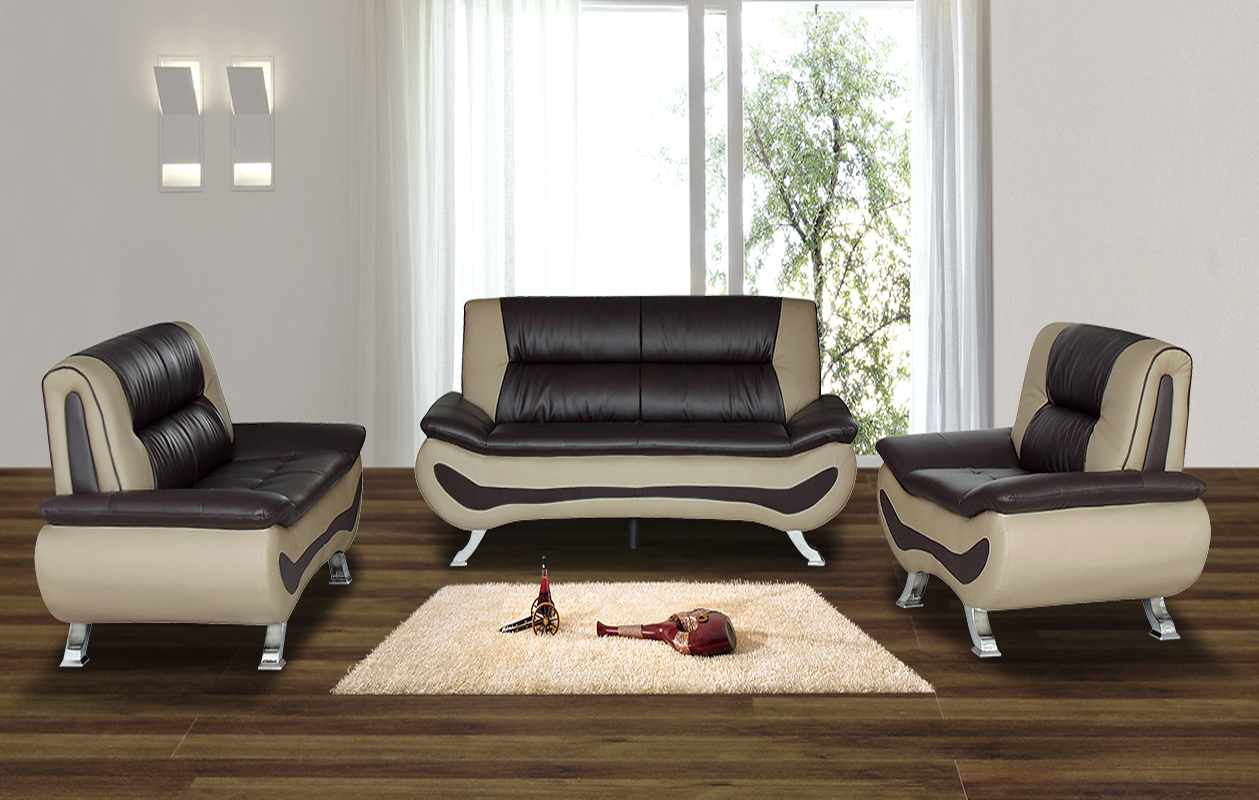 Isbella 3 Pc Brown And Beige Faux Leather Modern Living Room Sofa Set,  Coffee Table Part 84