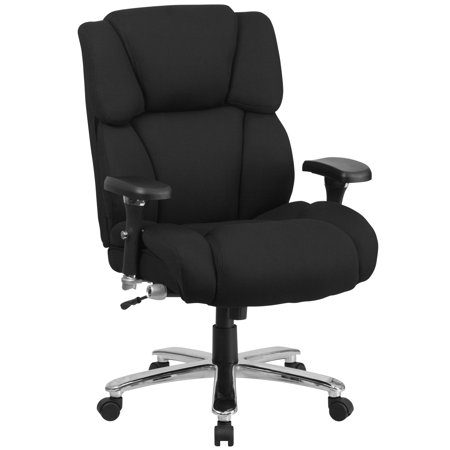 Flash Furniture HERCULES Series 24/7 Intensive Use, Multi-Shift, Big and Tall 400 lb Capacity Black Fabric Executive Swivel Chair with Lumbar Support Knob ()