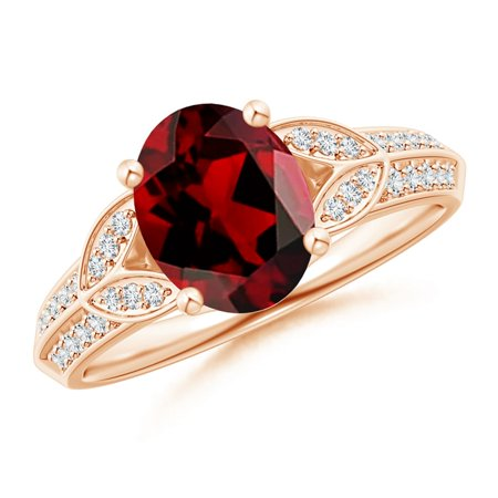 Valentine Jewelry Gift - Knife-Edged Oval Garnet Solitaire Ring with Pave Diamonds in 14K Rose Gold (9x7mm Garnet) - SR1091GD-RG-AAAA-9x7-10.5