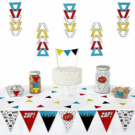 BAM! Superhero - Piece Triangle Baby Shower or Birthday Party Decoration Kit - 72 Pieces (Super Hero Decorations)