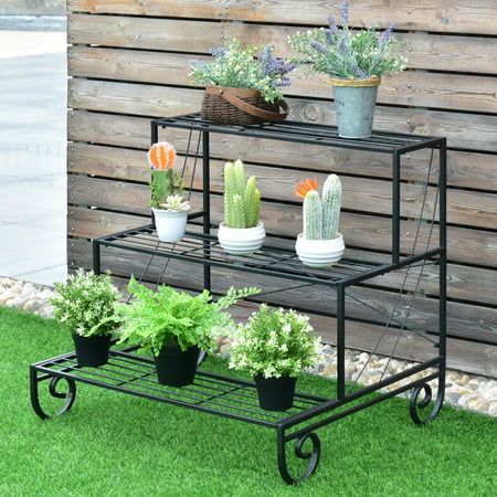 Antique Mahogany Plant Stand (Costway 3 Tier Outdoor Metal Plant Stand Flower Planter Garden Display Holder Shelf Rack )