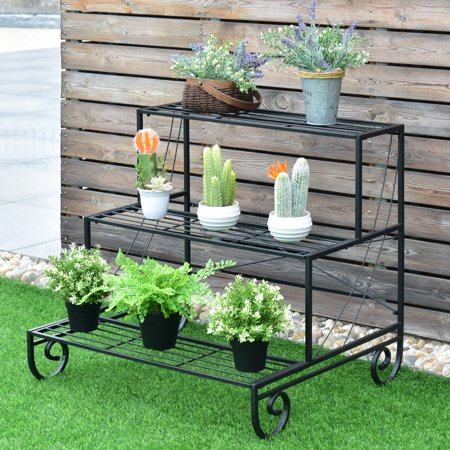Costway 3 Tier Outdoor Metal Plant Stand Flower Planter Garden Display Holder Shelf Rack Outdoor Shelf Stand