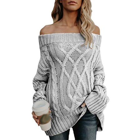 7d96e434db5 Women Off Shoulder Knitting Sweater Casual Long Sleeve Warm Thick Line  Twist Solid Fashion Pullover Autumn Winter