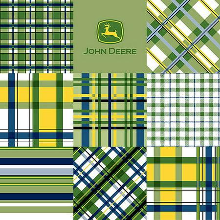 John Deere Cotton Plaid Patch Fabric, per Yard