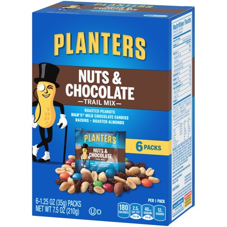 Planters Nuts and Chocolate Trail Mix, 6 ct - Bags, 7 5 oz Box