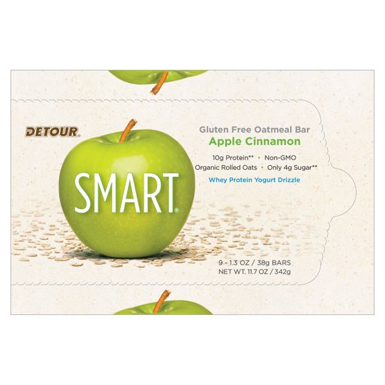 Detour SMART Bar, Apple Cinnamon, 10g Protein, 9 Ct - Walmart com