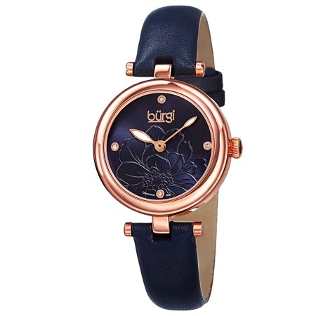 - Women's Quartz Diamond Markers Etched Flower Dial Leather Blue Strap Watch