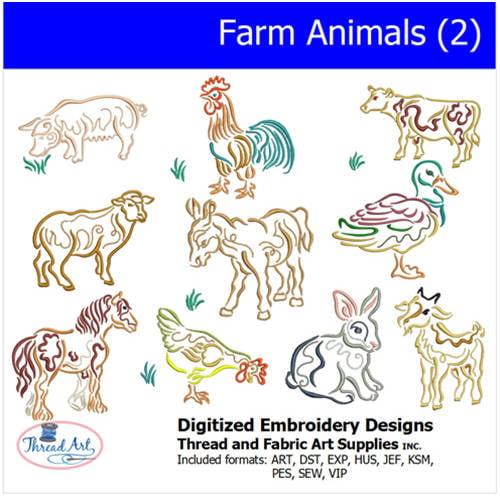 Threadart Machine Embroidery Designs Farm Animals(2) CD