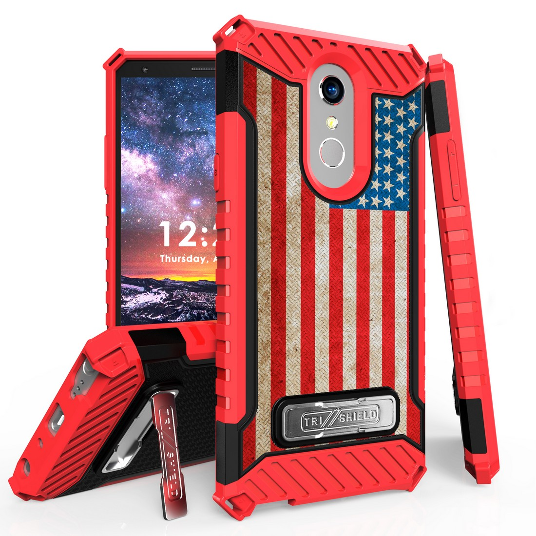 Beyond Cell Rugged Military Grade Drop Tested [MIL-STD 810G-516.6] Kickstand Cover Case and Atom Cloth for LG Stylo 4+ Plus/LG Stylo 4 (2018) - Vintage American Flag