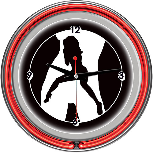"Shadow Babes, C Series Red 14"" Neon Wall Clock"