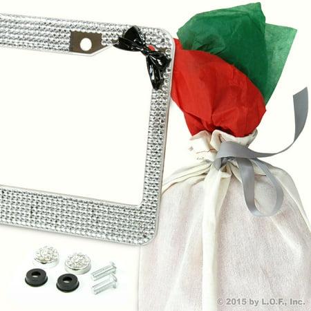 Bling Silver Crystal Rhinestone License Plate Frame w Black Bow 2Caps & Gift Bag