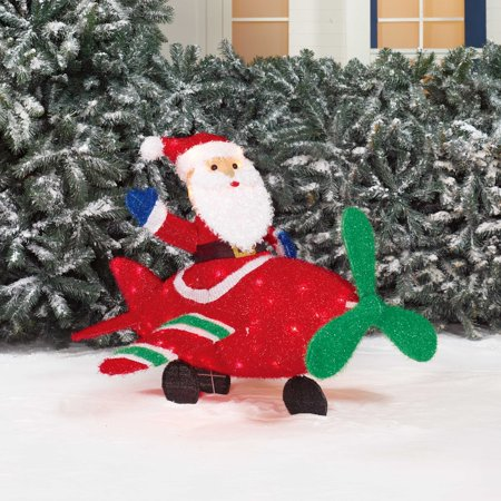 holiday time 36 santa in plane christmas yard decor - Walmart Christmas Yard Decorations