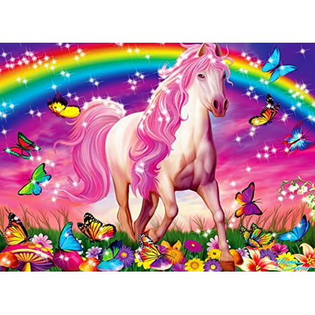 Rainbow UNICORN Butterflies Flowers Edible Icing Image for 1/4 sheet cake - Rainbow Cape