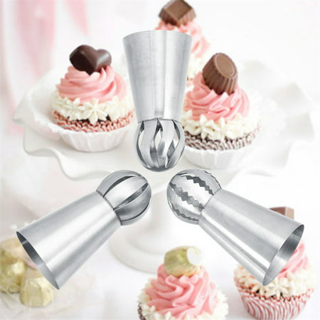 HERCHR Russian Piping Tips, 3pcs Stainless Steel Flower Shaped Frosting Cupcake & Cake Decorating Icing Nozzles Home Baking DIY Tool Nozzle Tips Pastry Cake Supplies - Halloween Cupcake Decorating Supplies