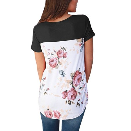 Women Casual Floral Print Back Short Sleeve Criss Cross V Neck Blouse Tops