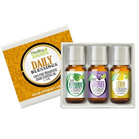 Daily Blessing Set 100% Pure, Best Therapeutic Grade Essential Oil Kit - 3/10mL (Lavender, Lemon, and Peppermint)
