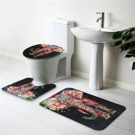 3Pcs/Set Bathroom Toilet Lid Cover + Floor Pedestal Rug + Non-slip Pad Bath Mat Doormat Carpet Africa Elephant Home Decor Christmas Gift ()