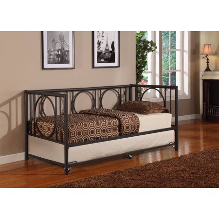 twin size black metal day bed frame with roll out trundle headboard footboard rails slats. Black Bedroom Furniture Sets. Home Design Ideas