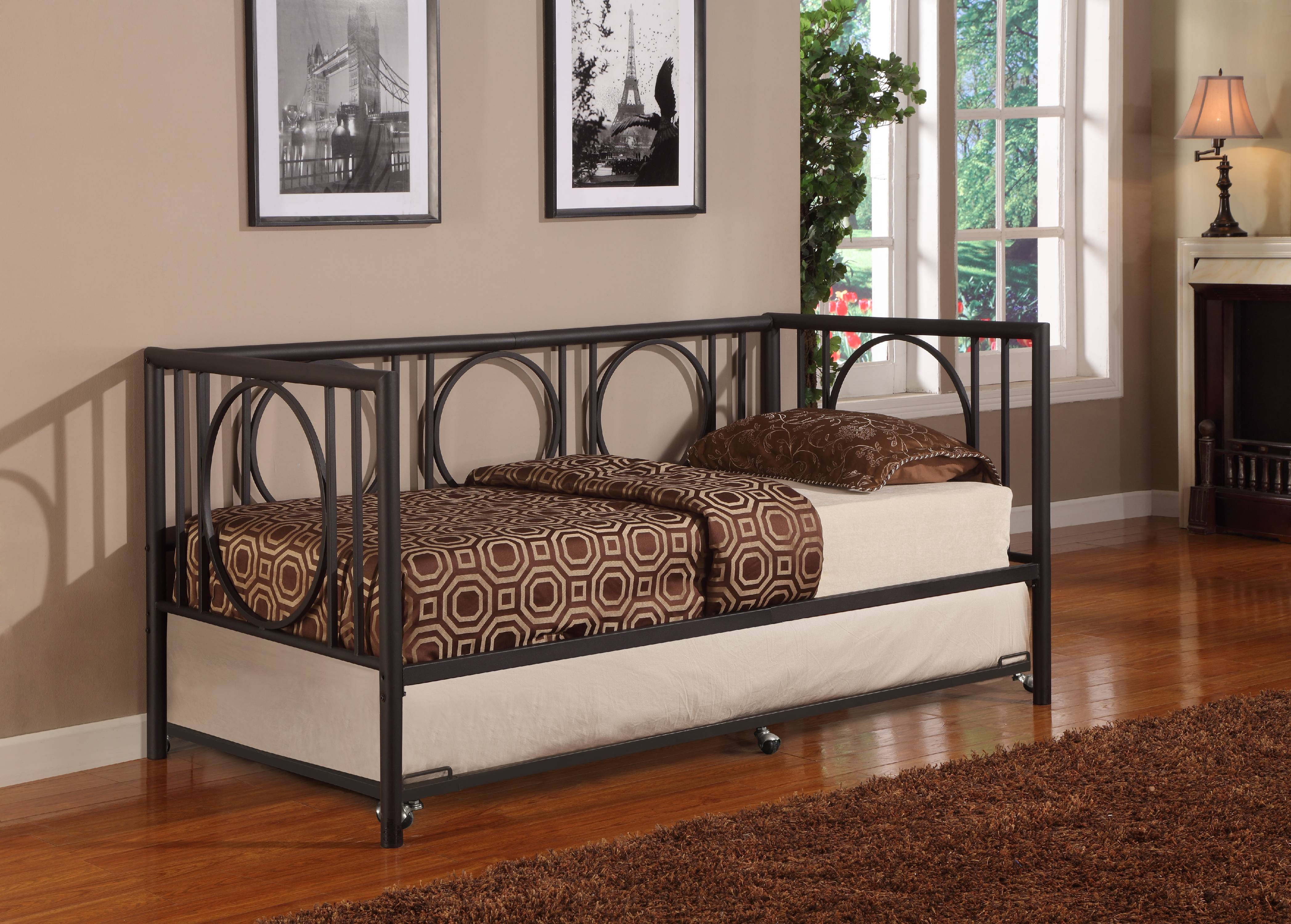 twin size black metal day bed frame with rollout trundle headboard footboard