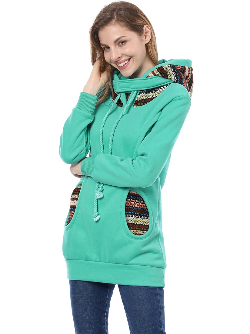 Cyan Blue XS Elastic Cuff Long Sleeve Pullover Warm Hoodie for Lady