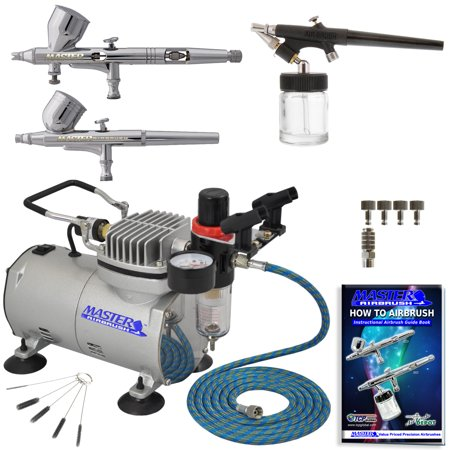 - Pro 0.2 Fine Detail 3 Airbrush Compressor Set Kt Dual-Action Nail Art Auto Paint