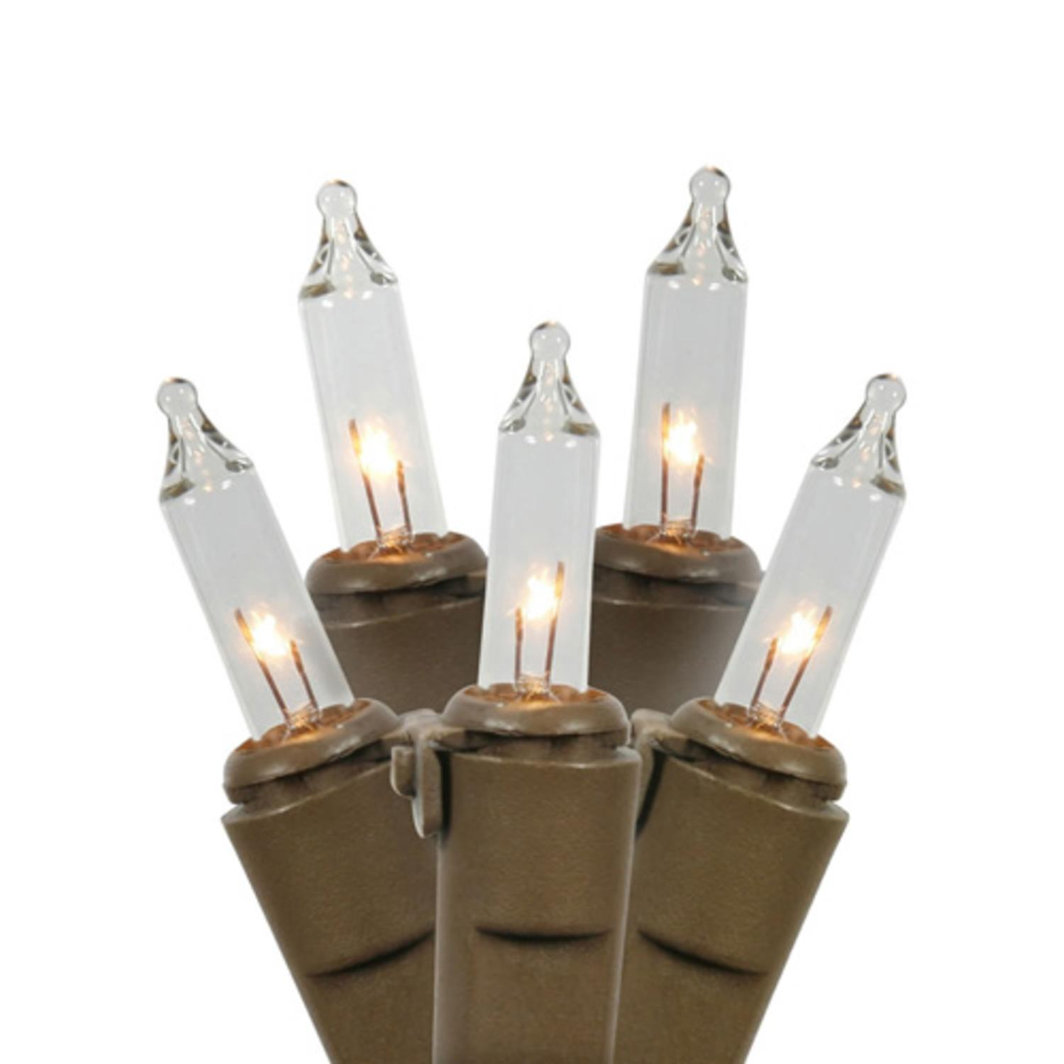 Set of 100 Clear Mini Christmas Lights - Brown Wire