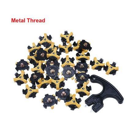 30PCS Golf Shoe Spikes Replacement Screw in Cleat Metal Thread For FootJoy with Removal Tool