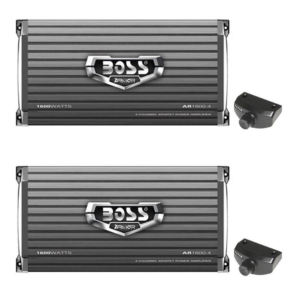 Boss Audio 1600 Watt 4 Channel Car Amplifier Power Audio with Remote (2 Pack)
