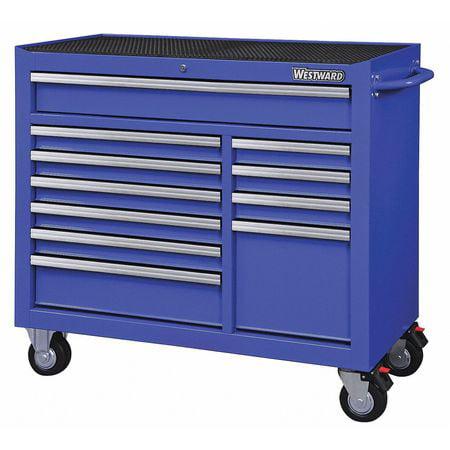 """WESTWARD Rolling Cabinet,42"""" W,18-15/16"""" D,Blue 32H857"""
