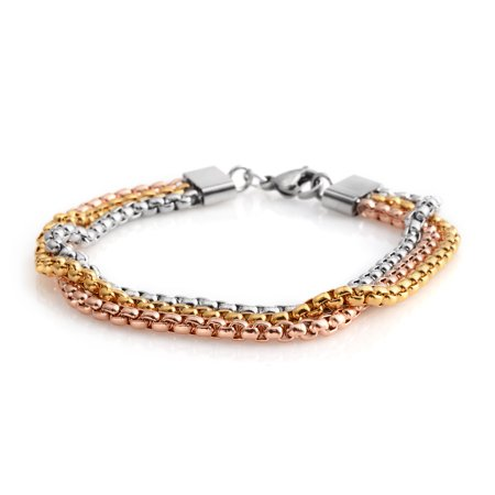 Ion Plated Yrg Stainless Steel 3 Row Box Bracelet 7 25 In