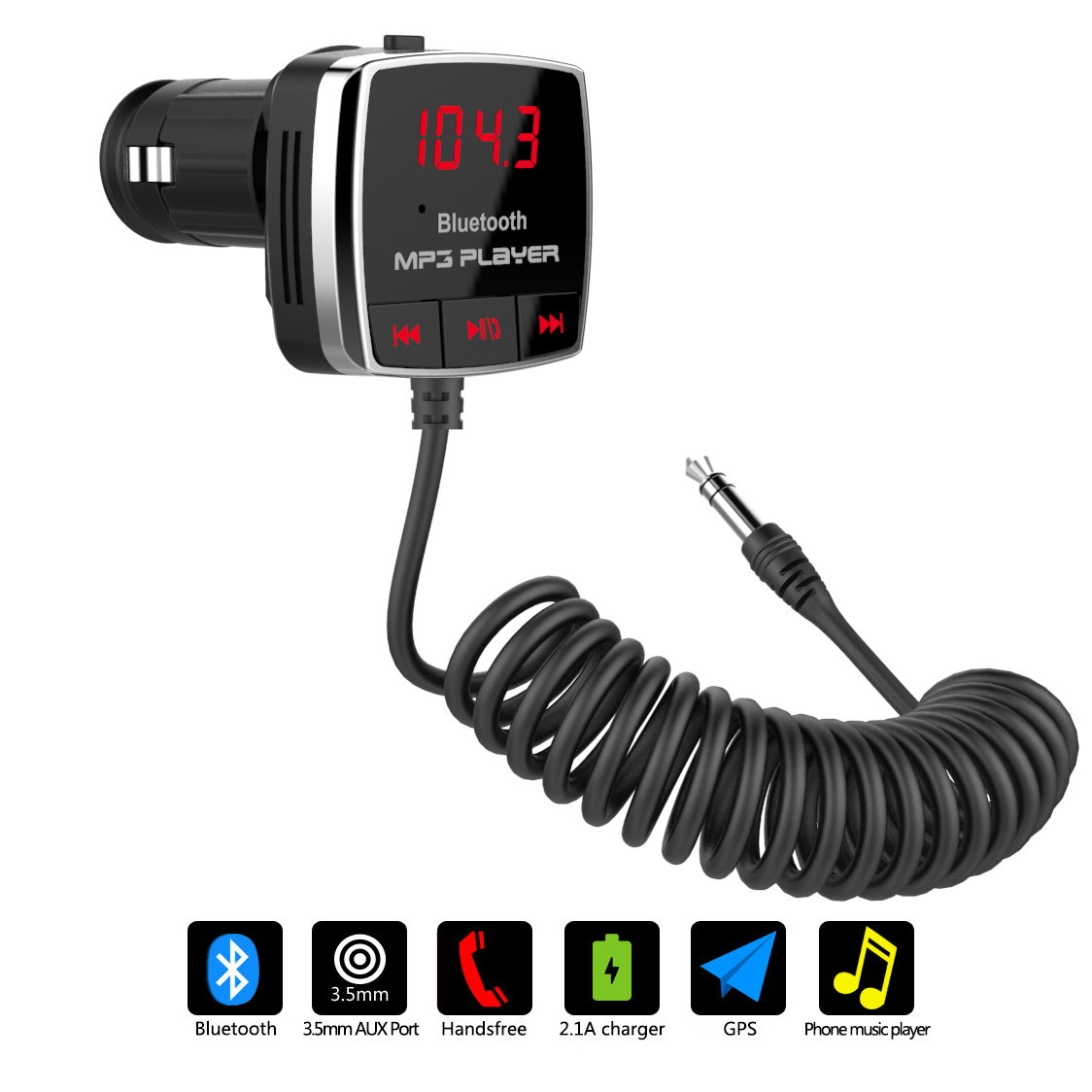 AGPtek Car Bluetooth FM Transmitter A2DP 3.5mm AUX Stereo Audio Receiver Hands-free USB Charger for iPhone Smart Phone