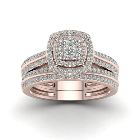 Pink Topaz Cluster - 14k Rose Gold 1/2ct TDW Diamond Cluster Halo Bridal Set - Pink