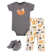 Hudson Baby Unisex Baby Cotton Bodysuit, Pant and Shoe Set, Boy Forest, 12-18 Months