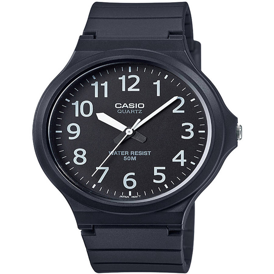 Casio Men's Super-Easy Reader Watch, Black/White Dial, MW240-1BV