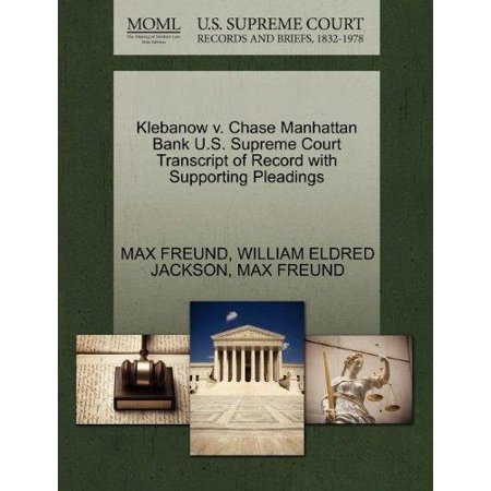 Klebanow V  Chase Manhattan Bank U S  Supreme Court Transcript Of Record With Supporting Pleadings