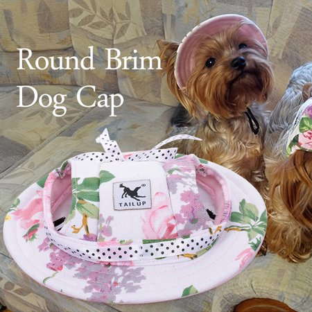 Round Brim Dog Cap Pet Hat Mesh Prorous Sun Cap with Ear Holes for Small Dogs Puppy - image 5 of 5