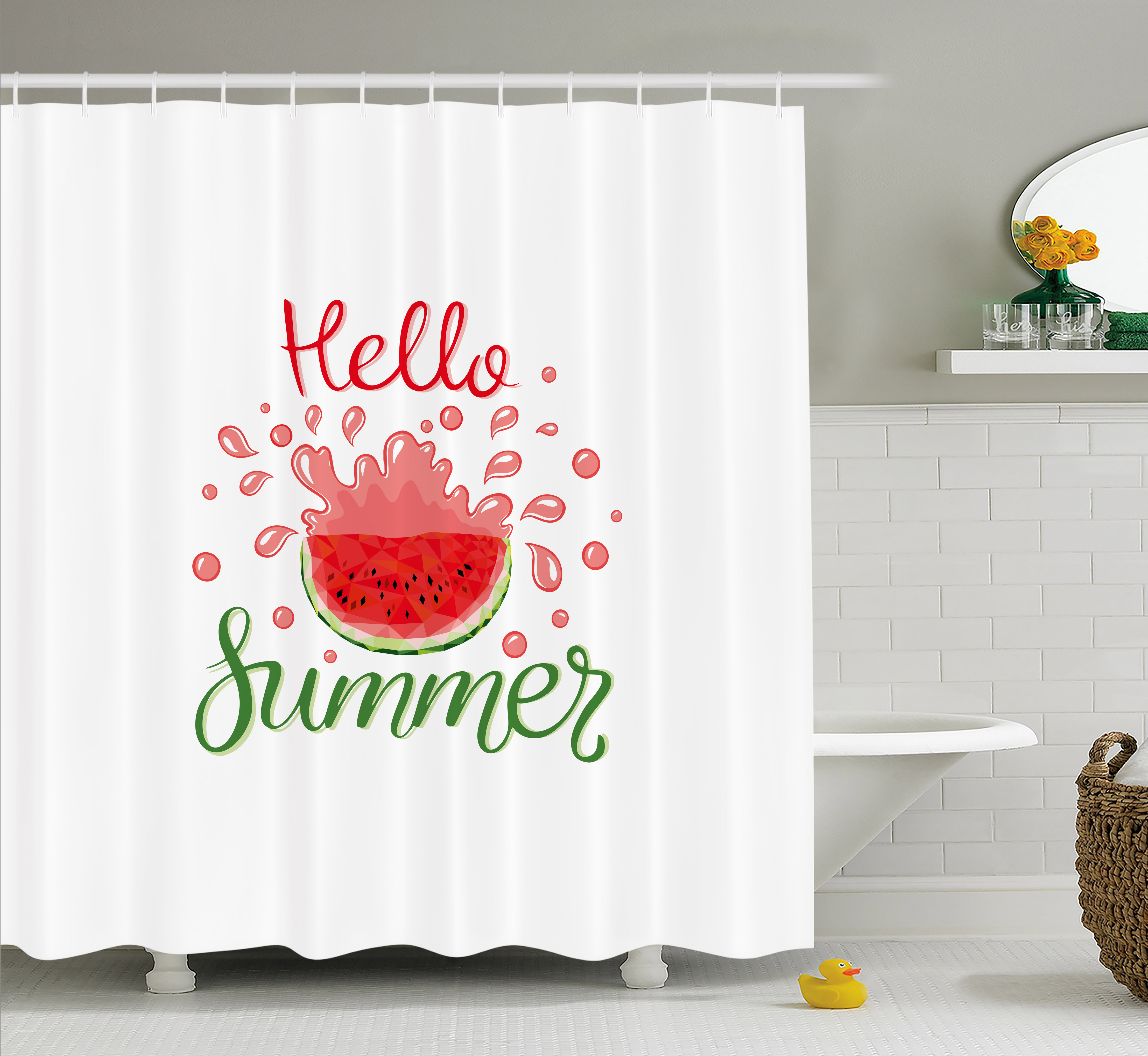 Hello Summer Shower Curtain, Cartoon Design Print and a Seemingly Juicy Watermelon Slice with Seeds Funky, Fabric Bathroom Set with Hooks, 69W X 75L Inches Long, Multicolor, by Ambesonne