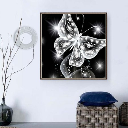 Holiday Clearance Black White Butterfly Rhinestone Painting Diamond Cross-stitch Needlework 5D Embroidery Picture Drawing Needlework Stitchwork ()