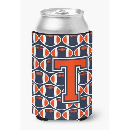 Letter T Football Orange, Blue and white Can or Bottle Hugger - Blue Footballs