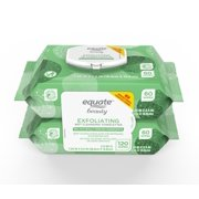 120 Count, 2 Pack Equate Beauty Exfoliating Makeup Remover Wipes