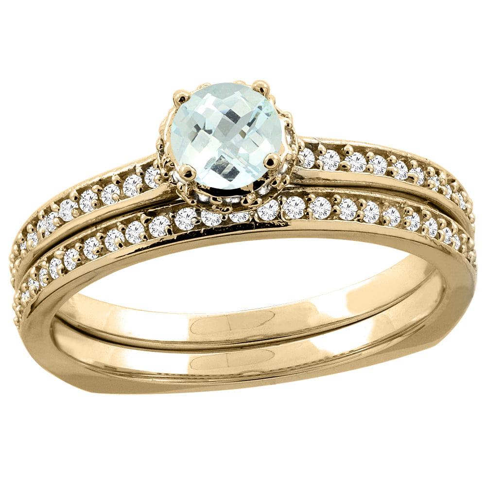 10K Yellow Gold Diamond Natural Aquamarine 2-pc Bridal Ring Set Round 4mm, sizes 5 10 by WorldJewels