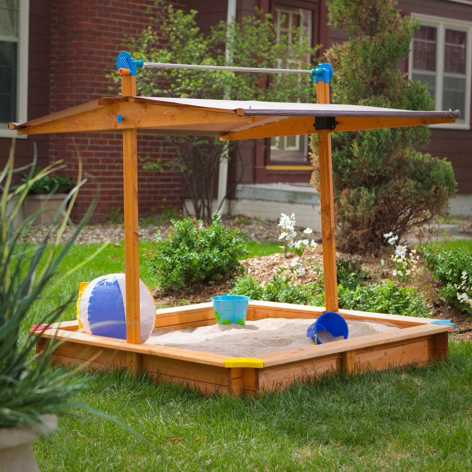 Tierra-Derco Large Covered Wooden Sandbox by Magic Cabin