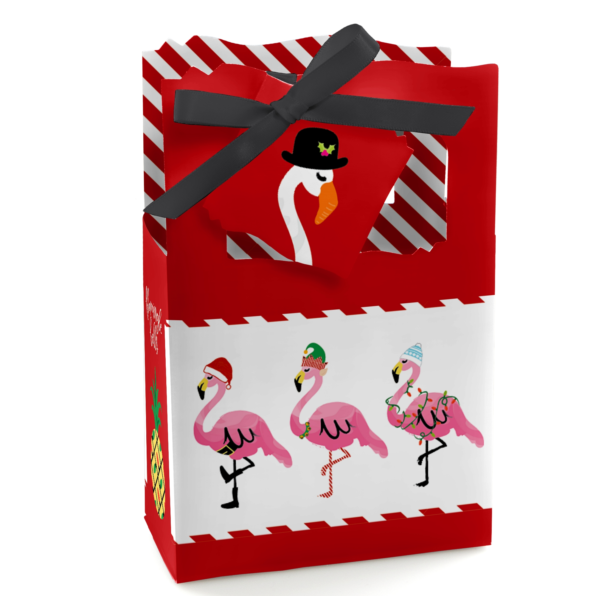 Flamingle Bells - Tropical Flamingo Christmas Party Gift Bag - Set of 12