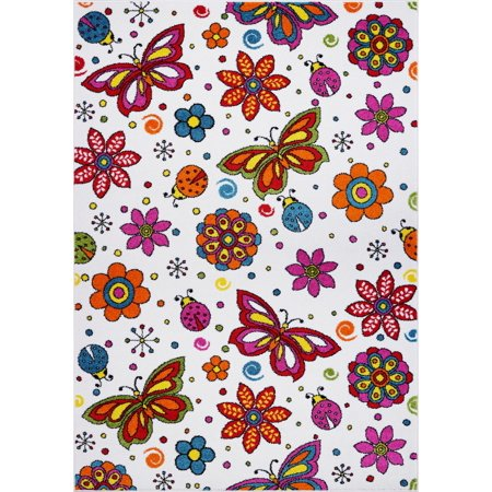Ladole Rugs Butterflies Flowers Pattern Area Rug Carpet for Kids in Cream and Multicolor, 4x6 (3'11