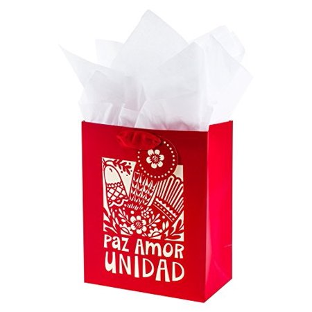 hallmark vida medium christmas gift bag with tissue paper and spanish lettering (paz amor unidad)