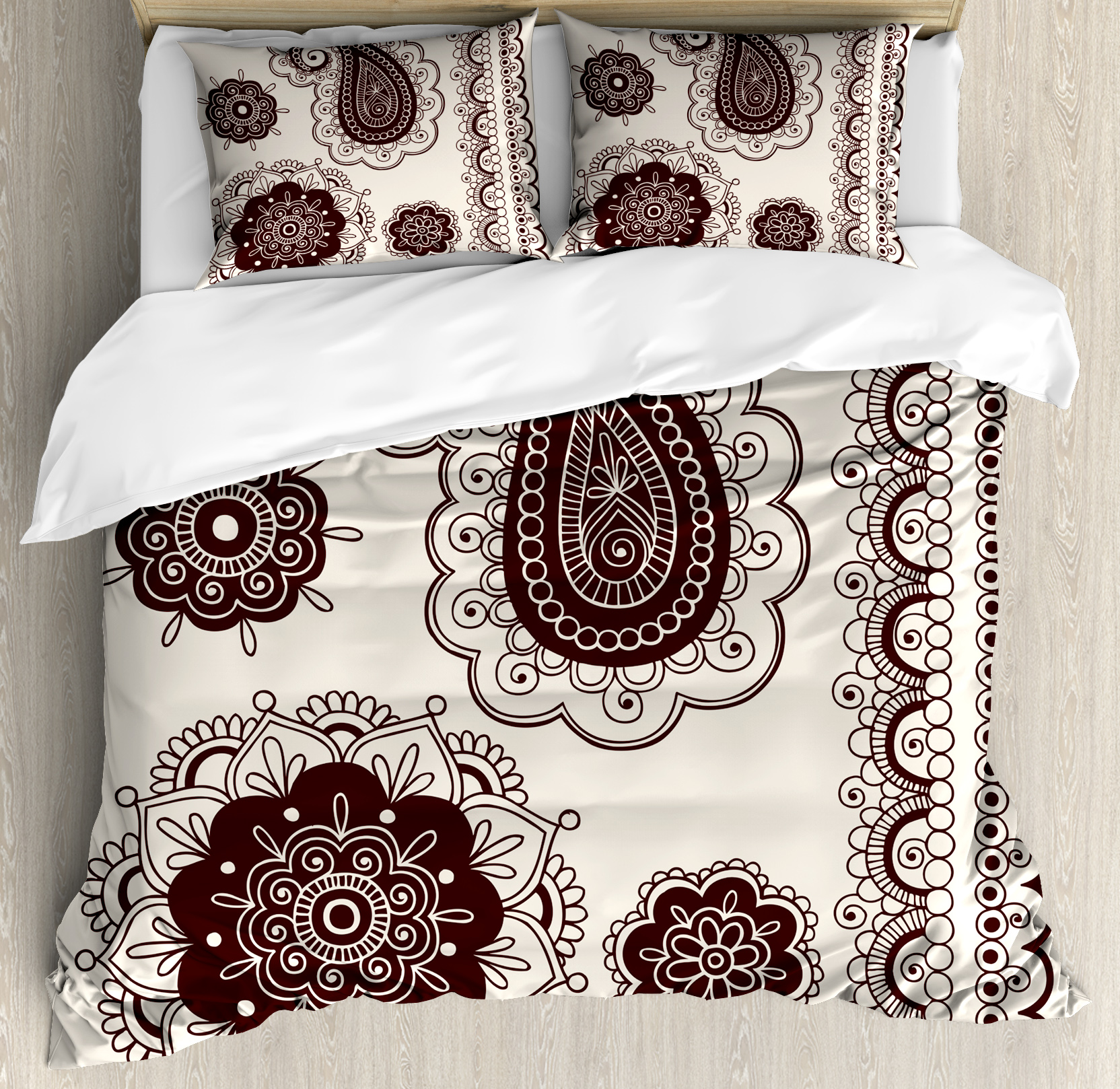 Henna Queen Size Duvet Cover Set, Intricate Hand Drawn Tattoo Paisley Doodle Eastern Culture Inspired Design, Decorative 3 Piece Bedding Set with 2 Pillow Shams, Dark Brown Cream, by Ambesonne