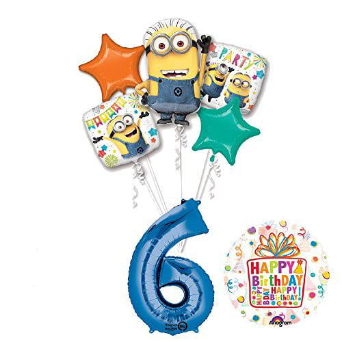 6 DESPICABLE ME Minion Fun LATEX BALLOONS ~ Birthday Party Supplies Latex