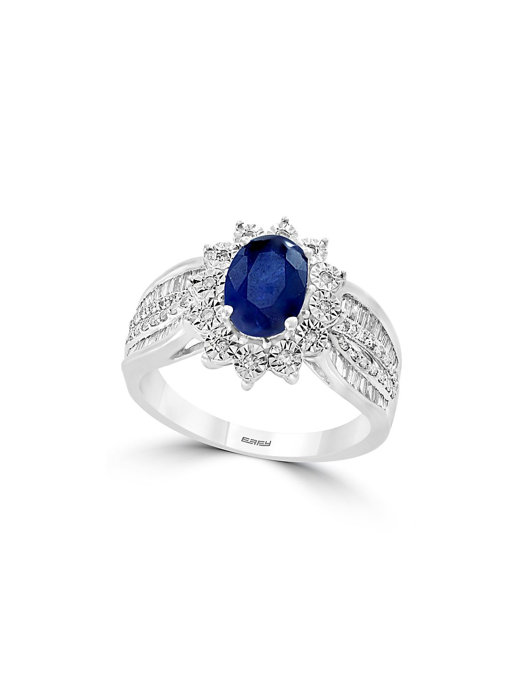 14K White Gold, Diamond & Sapphire Oval Stone Ring