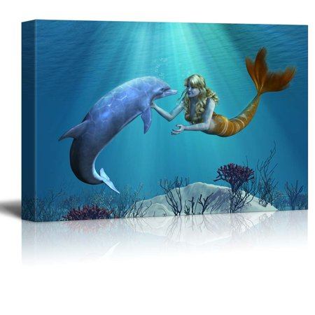 "wall26 - Canvas Prints Wall Art - A Friendly Dolphin Greets a Mermaid Undersea - 16"" x 24"""