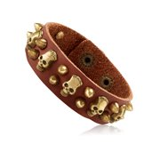 """Men's Brown Leather Skull and Bullet Studs Cuff Bracelet (21mm) - 8"""""""